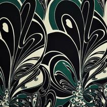 Трикотаж вискозный стрейч крупный цветок на чёрном