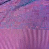 Подкладка жаккардовая малиново-голубая полоска с газетным купоном