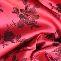 Атлас стрейч чёрные розы на красном фоне