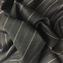 Шерсть костюмная черная в бело-голубую полоску