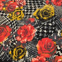 Вискозный трикотаж с красными цветами на черно-белом фоне