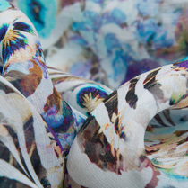 Вискоза жоржет голубые незабудки