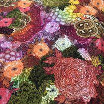 Трикотаж вискозный кружевные цветы принт D&G