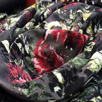 Костюмно-плащевая вискоза стрейч оливкового цвета с флоком