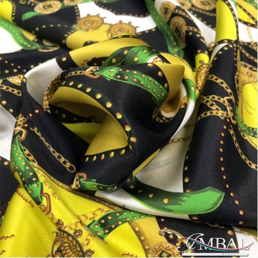 Шелк атласный стрейч принт Versace в черно-желтых тонах с ремнями