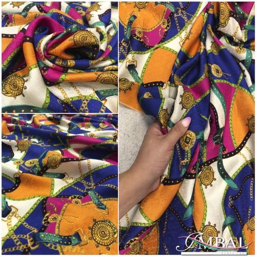 Шелк жаккардовый принт Versace в сине-оранжевых тонах с ремнями