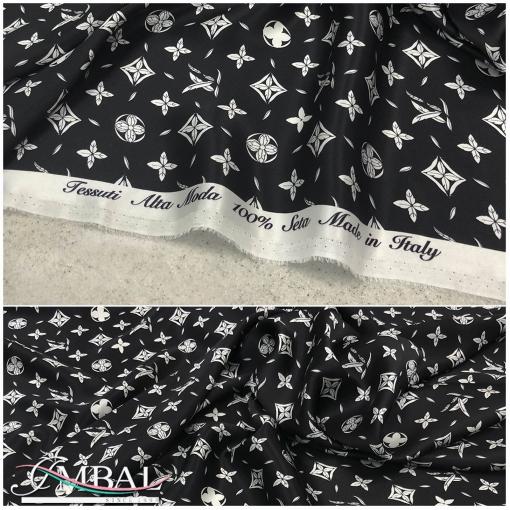 Шелк атласный принт Louis Vuitton символы на черном фоне