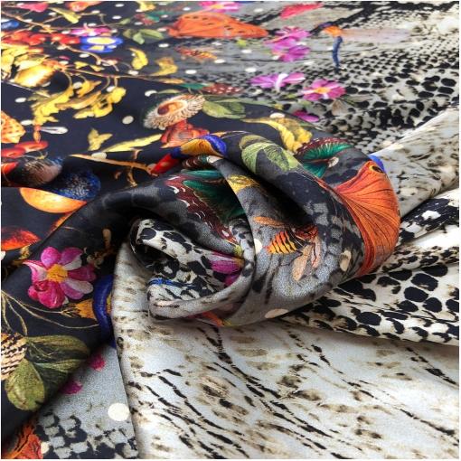 Шелк атласный стрейч принт Gucci купон цветы, рептилия и бабочки
