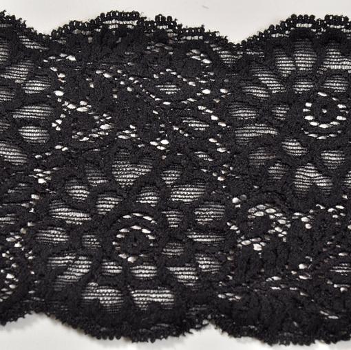 Тесьма стрейч кружевная черного цвета