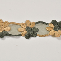 Ажурная тесьма золотисто-зеленые цветы