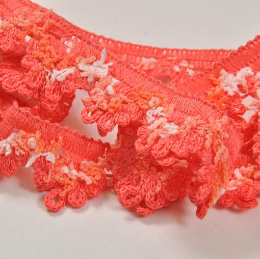 """Кораллово-розовая хлопковая тесьма """"зубчики"""""""