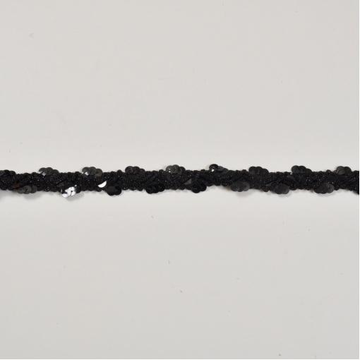 Черная тесьма с черными пайетками