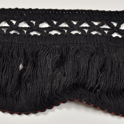 Шерстяная тесьма-бахрома черная
