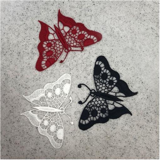 Кружевные темно-синие, бордовые и белые бабочки  шир. 10 см