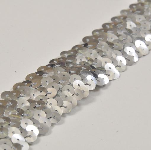 Серебряная тесьма-стрейч пайетки