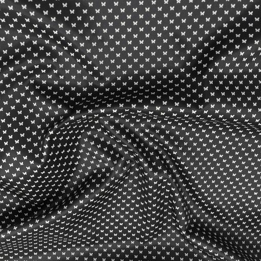 Подкладка жаккардовая PES темно-серая мелкие белые бабочки