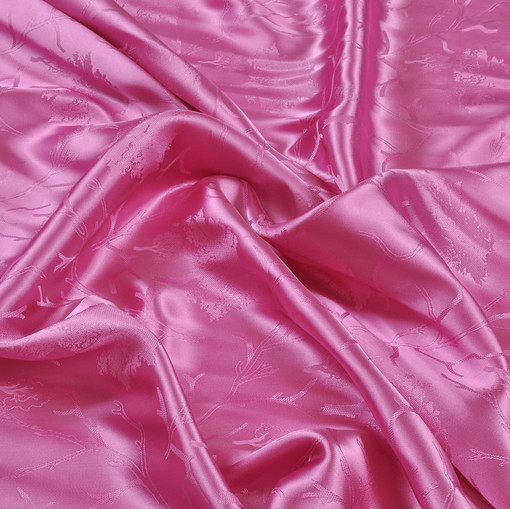 Вискозная подкладочная ткань жаккардового плетения ярко-розового цвета