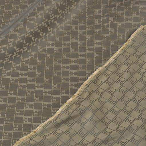 Жаккардовый двусторонний подклад бежево-коричневый