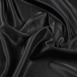 Вискозная подкладочная ткань угольного цвета с диагональной фактурой и горошинами