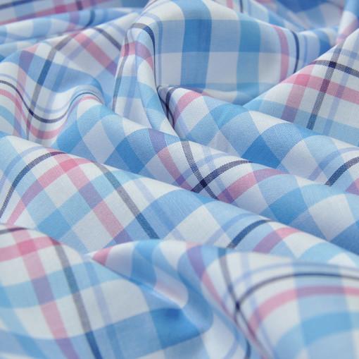 Хлопок рубашечный в розово-голубую клетку