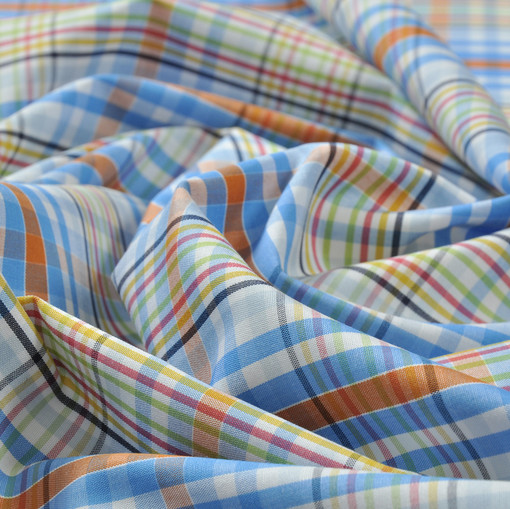 Хлопок рубашечный в многоцветную клетку