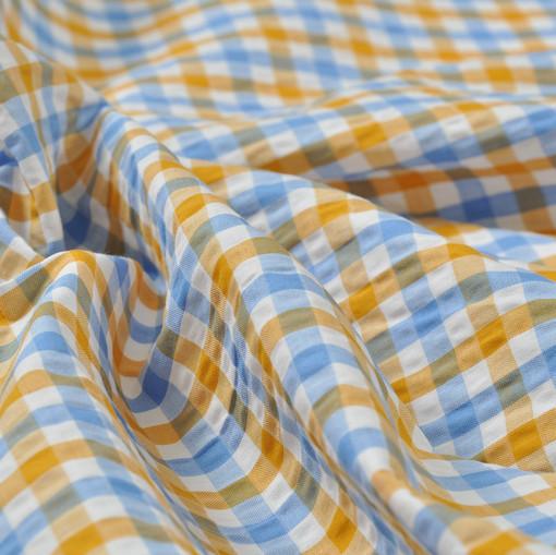 Хлопок рубашечный крешированный в оранжевую и голубую клетку