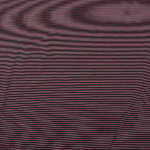 Хлопок стрейч рубашечный черный с бордовыми полосами