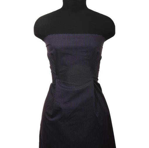 Хлопок стрейч рубашечный черно-фиолетовая полоска