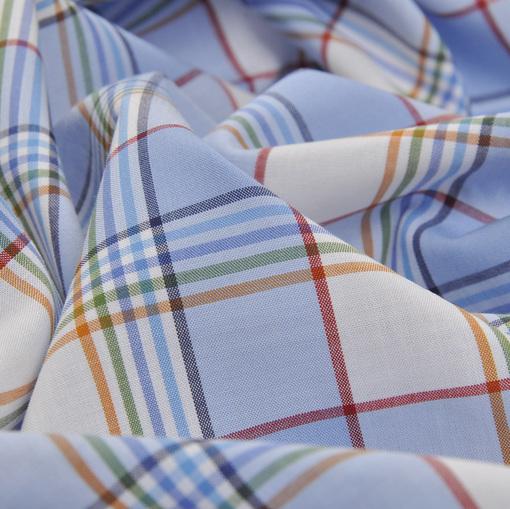 Хлопок рубашечный в бело-голубую клетку с оранжевыми, красными и зелеными полосками