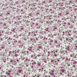 Хлопок блузочно-плательный белый в мелкие цветочки вишневого и розового цвета
