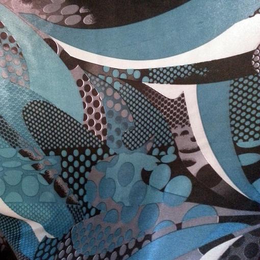 Подклад стрейч с печатью цвета морской волны