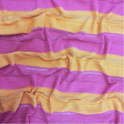 Трикотаж хлопковый вязанный в крупную оранжево-малиновую полоску