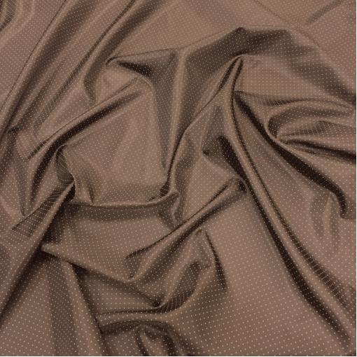 Подкладка вискозная жаккардовая в мелкий горох цвета горького шоколада