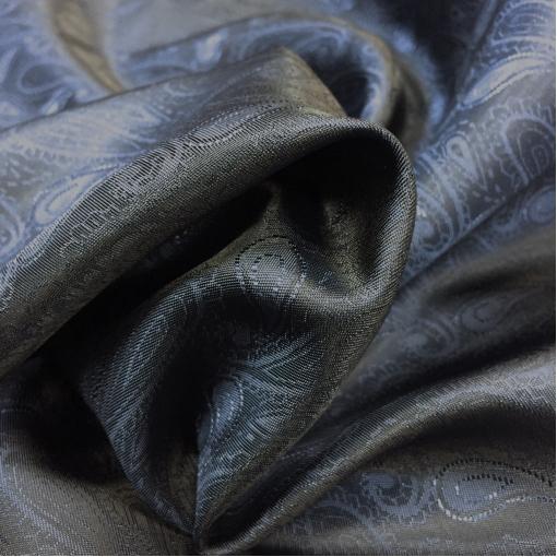 Подкладка вискозная жаккардовая хамелеон сине-серые огурцы