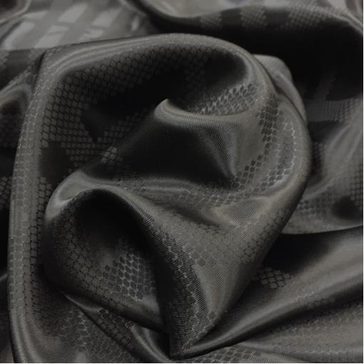 Подкладка вискозная жаккардовая Max Mara черная в крупную клетку