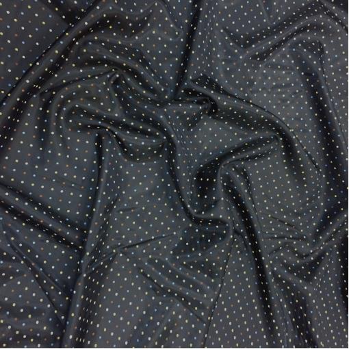 Подкладка вискозная жаккардовая темно-синего цвета в разноцветный горошек