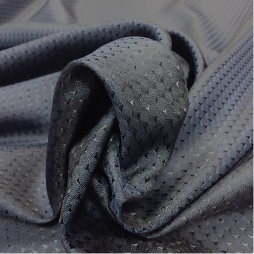 Подкладка вискозная жаккардовая средне-синего цвета мелкие штрихи