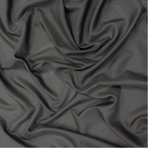 Подкладка вискозная жаккардовая черного цвета с серебристым горошком