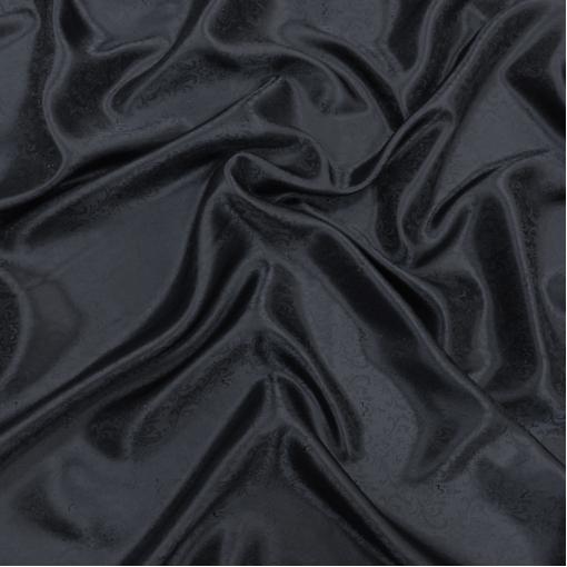 Подкладка вискозная жаккардовая черно-синего цвета с вензелями