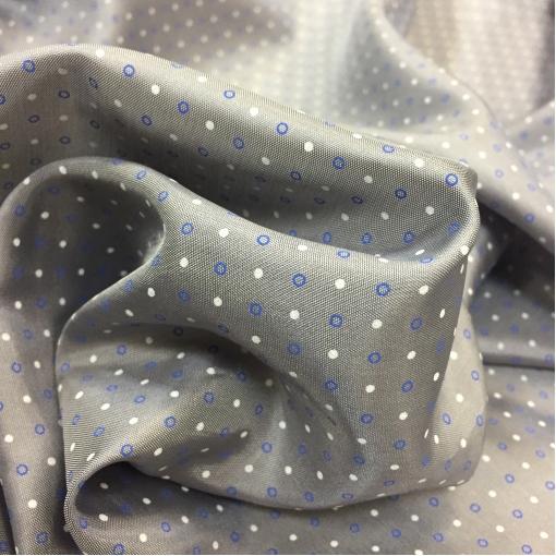 Подкладка вискозная жаккардовая серо-голубого цвета с горошками
