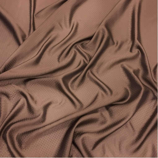 Подкладка вискозная жаккардовая цвета молочного шоколада в мелкий горошек
