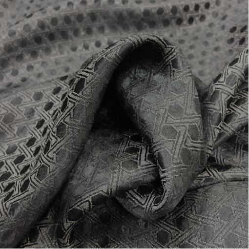 Подкладка вискозная жаккардовая темно-серого цвета геометрический орнамент