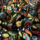 Подклад атласный Gucci абстрактные цветы и огурцы на черном фоне