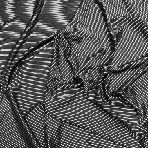 Подкладка вискозная жаккардовая серые полоски на черном фоне