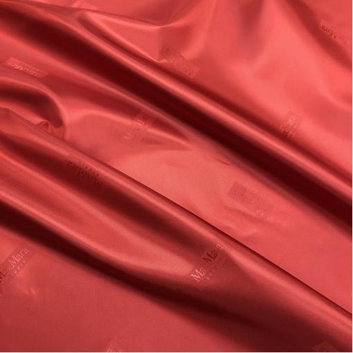Подкладка вискозная жаккардовая с логотипами Max Mara ярко-красного цвета