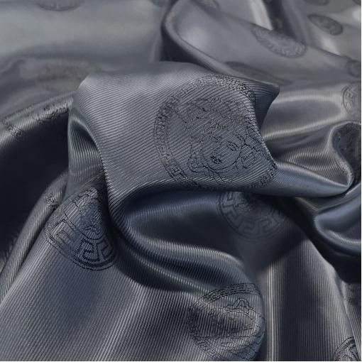 Подкладка вискозная с логотипами Versace темно-синего цвета