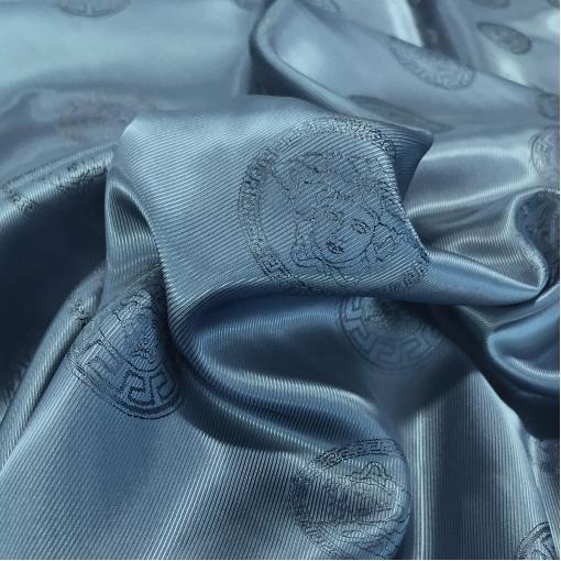 Подкладка вискозная с логотипами Versace средне-синего цвета