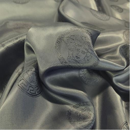 Подкладка вискозная с логотипами Versace оливково-графитового цвета