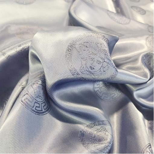 Подкладка вискозная с логотипами Versace светло-серого-фиалкового цвета