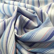 Ткань рубашечная стрейч х/б голубая полоска